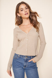 Provence Ribbed Knit Cropped Cardigan Top