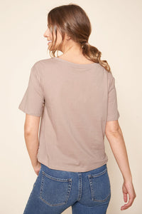 Ellie Boxy Cropped Cotton Knit T-Shirt