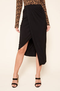 Martinique Midi Sarong Wrap Jersey Knit Skirt
