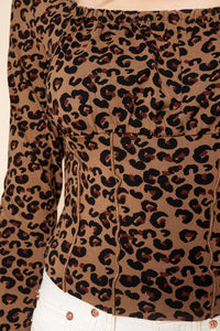 Lea Leopard Square Neck Jersey Knit Top