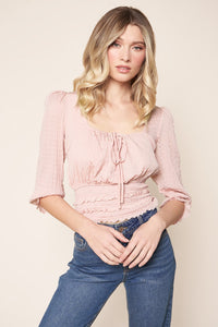 Keep It Up Smocked Babydoll Crop Top
