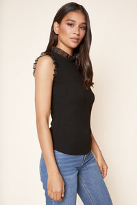 Reina Ribbed Knit Mock Neck Top