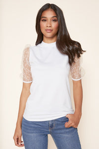 Natalia Balloon Sleeve French Terry Knit Top