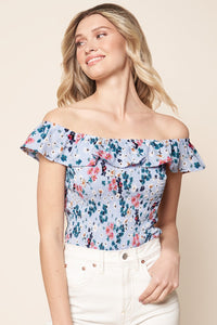 Kaiya Floral Off the Shoulder Cropped Top