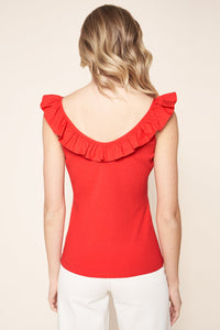 Adeline Ruffle Ribbed Knit Convertible Tank Top
