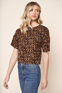 Lea Leopard Everyday Cropped Jersey Knit T Shirt