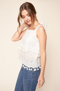 Margene Embroidered Layered Tassel Tank Top