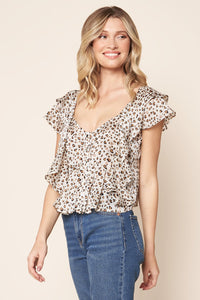 Shyla Leopard Satin Ruffled Cropped Top