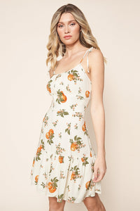 Arancia Mini Flared Orange Print Dress