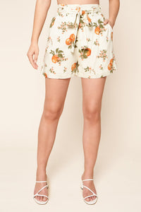 Arancia High Waisted Orange Print Shorts