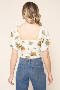 Arancia Puff Sleeve Orange Print Crop Top