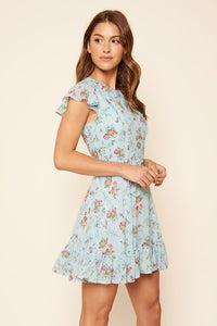 You And Me Floral Print Ruffled Mini Skater Dress