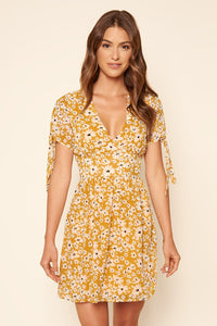Iva Floral Print Tie Sleeve Mini Dress