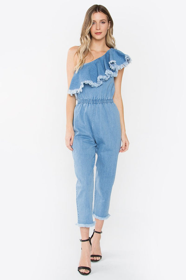 Corrine One Shoulder Denim Jumpsuit