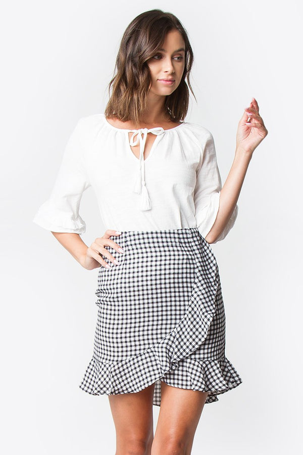 Ashby Gingham Ruffle Skirt
