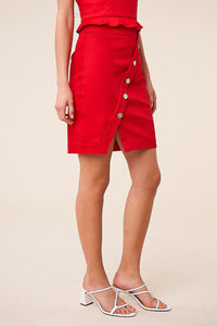 Cruel Intentions Asymmetrical Button Mini Skirt