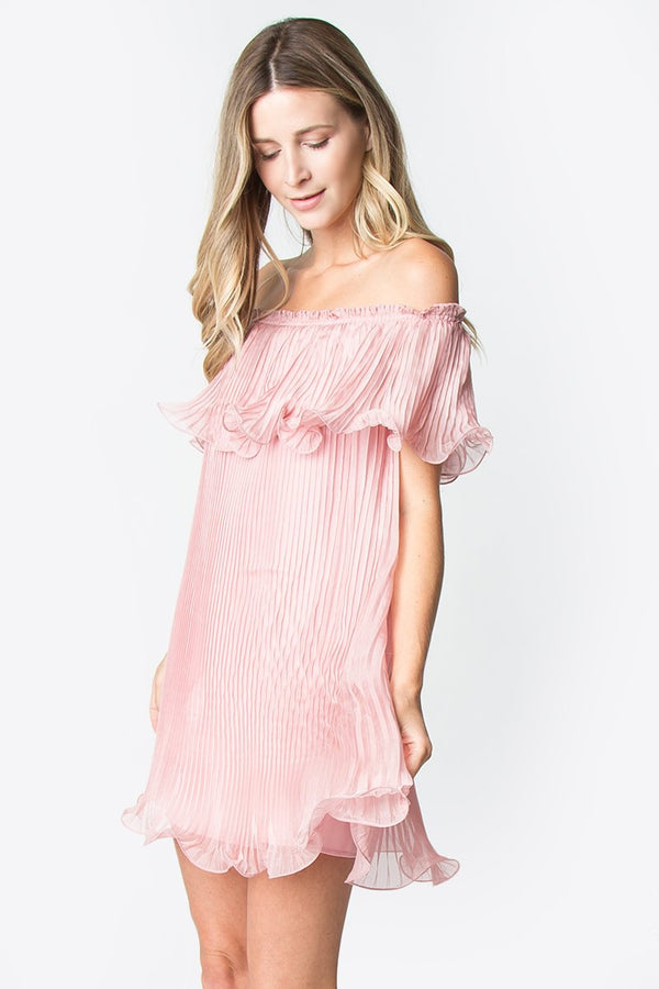 Patrice Pleated Off The Shoulder Dress