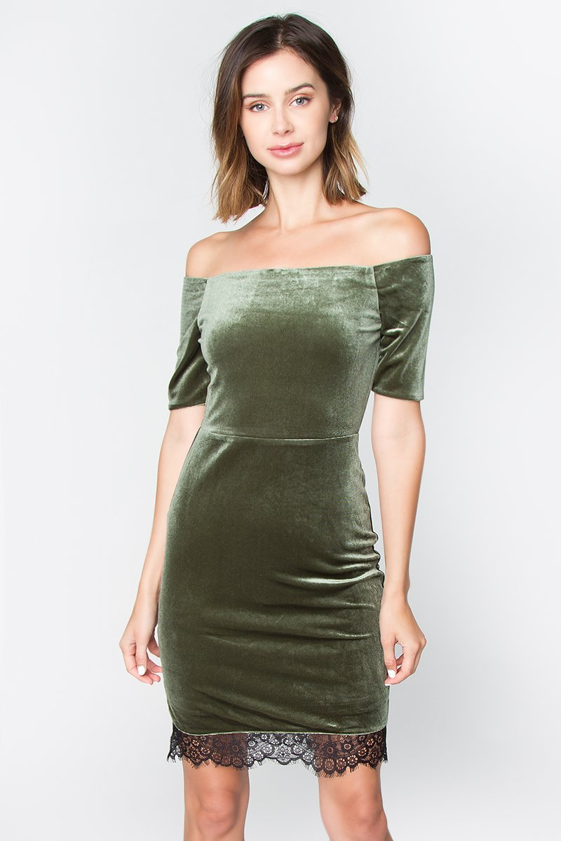 Nevia Velvet Off The Shoulder Dress