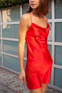 Sascha Satin Drape Neck Mini