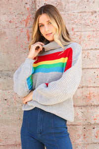 Assia Rainbow Stripe Turtleneck Sweater