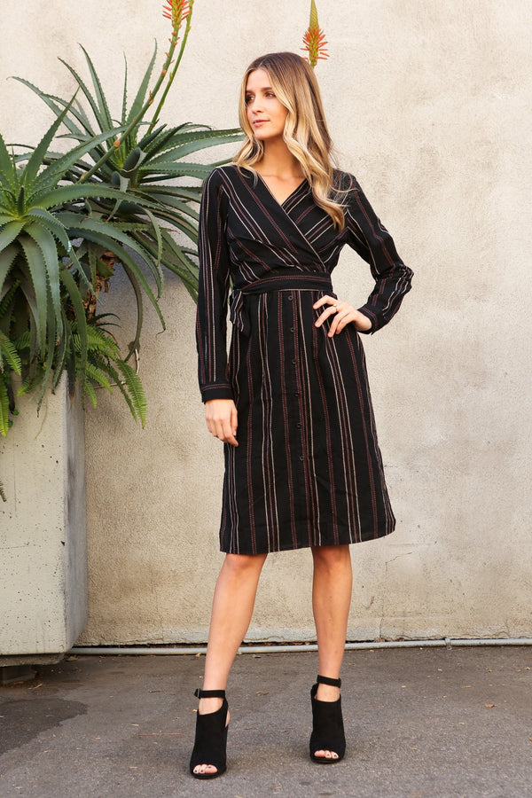 Rori Front Wrap Midi Dress