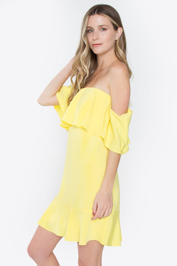 Loving Lemons Off The Shoulder Dress