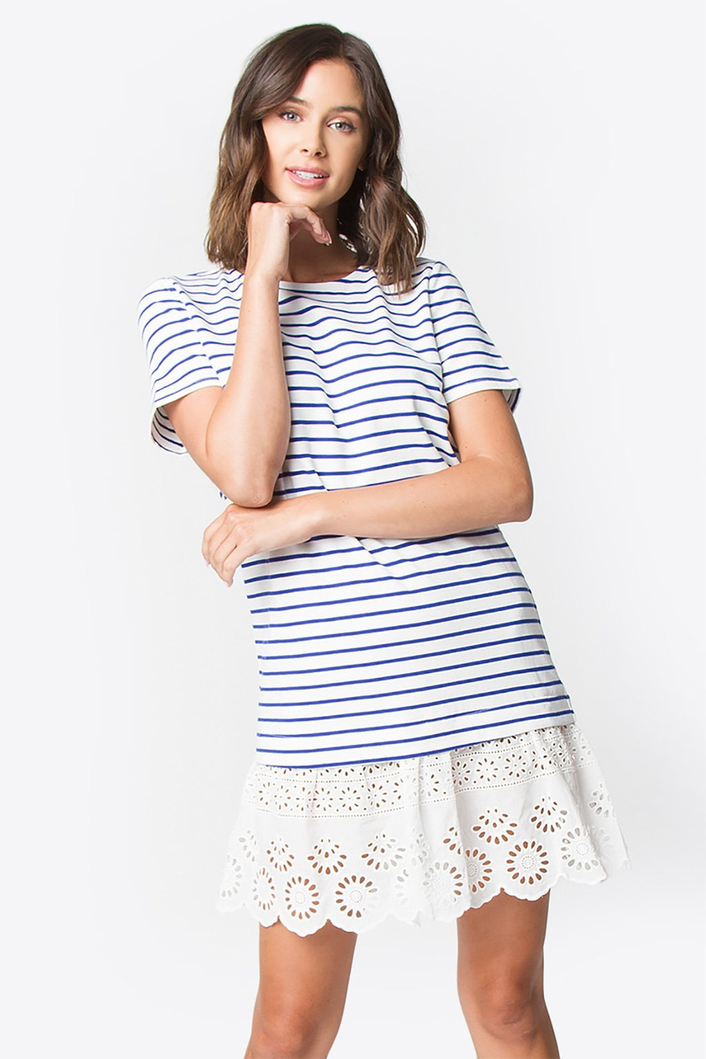 Justine Stripe Eyelet Dress