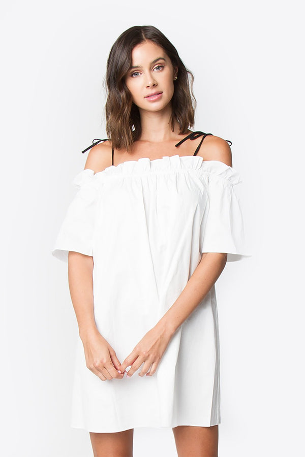 Bree Open Shoulder Ruffle Dress