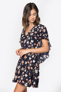 Adina Floral Cape Dress