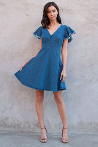 Dolo Denim Flutter Sleeve Dress