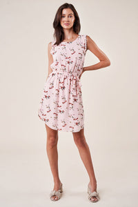 Love Story Sleeveless Floral Waist Tie Dress