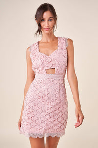 Aperol Sunset Cut Out Lace Mini Dress