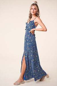 Blossoming Floral Open Back Maxi Dress