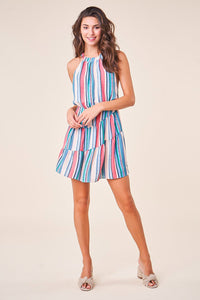 Samba Striped Cross Back Halter Dress