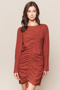 Fire Island Long Sleeve Ruched Dress