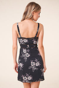 Aruba Floral Lace Trim Sweetheart Dress
