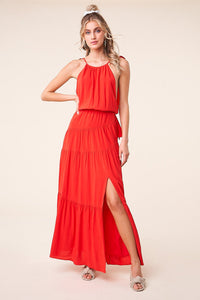 Night Out Ruffle Cross Back Maxi Dress