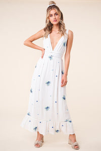 Starlight Floral Open Back Maxi Dress