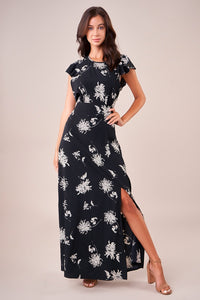 Bermuda Open Back Floral Maxi Dress