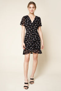 Lavina Floral Mini Wrap Dress