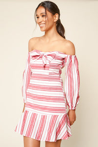 Persephone Off The Shoulder Striped Mini Dress