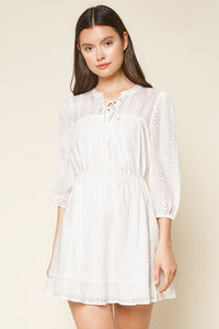 Is It Love Eyelet Mini Peasant Dress