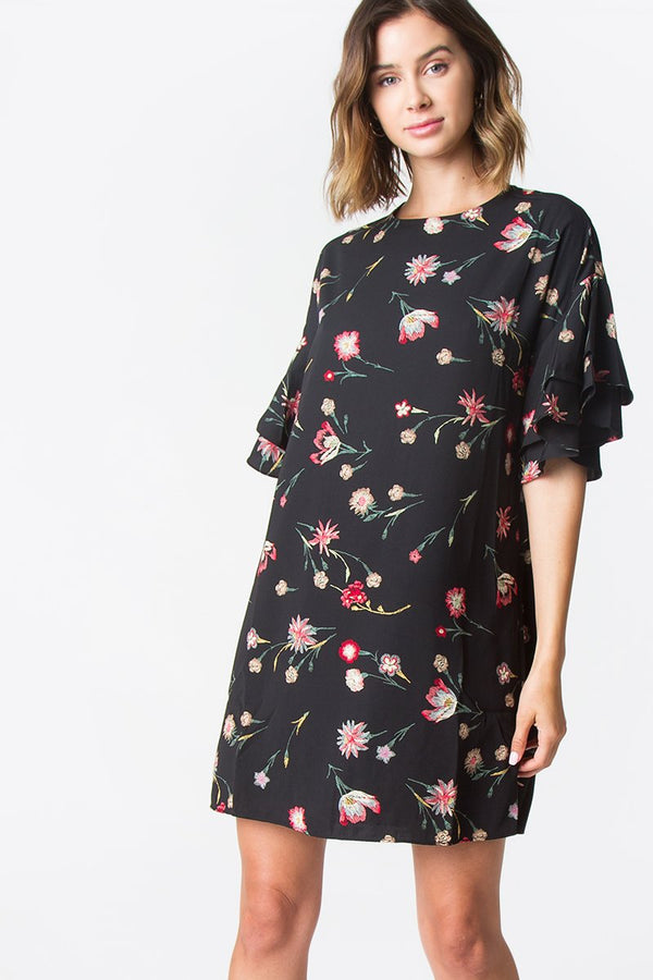 Linda Floral Ruffle Dress