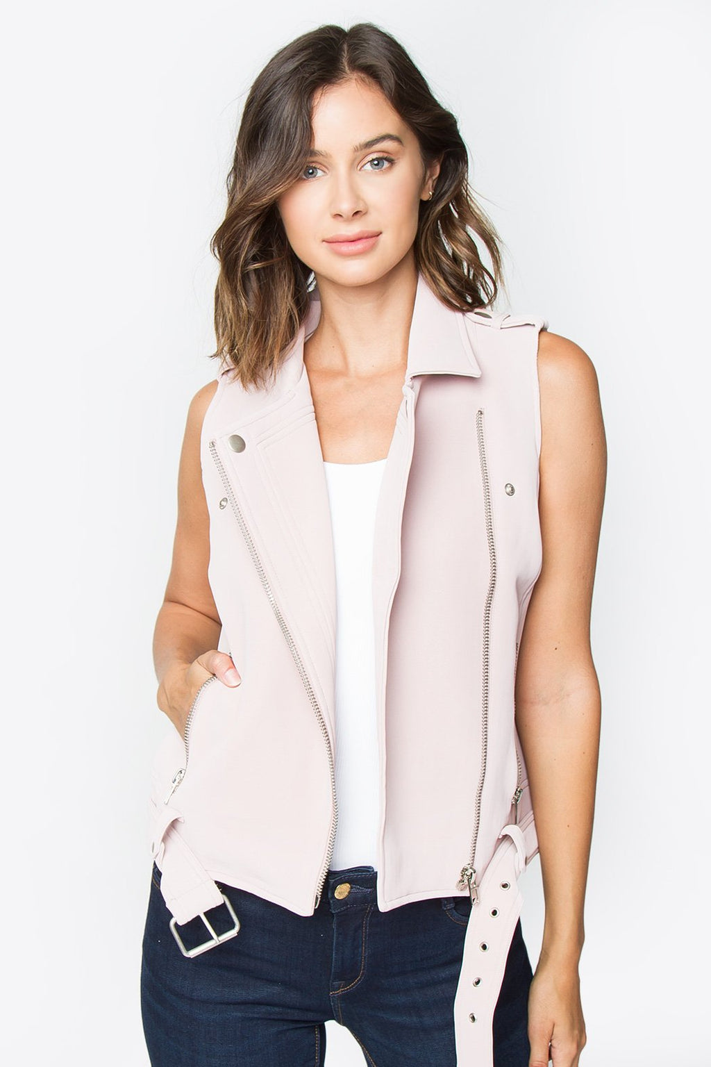 Lena Sleeveless Moto Jacket