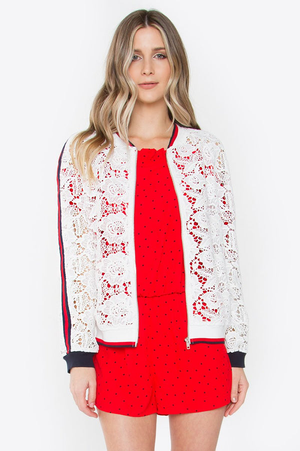 Victoria Lace Bomber Jacket Top