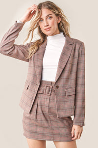 Fae Plaid Peak Lapel Blazer