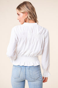 Ahava Smocked Bomber Jacket