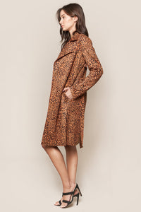 Untamed Leopard Print Suede Trench Coat