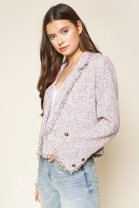 Angelica Cropped Tweed Blazer