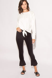 Ivory Ruffle Cropped Leggings